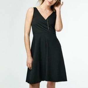 V-Neck Faux Wrap Dress in Black - Ethically Made